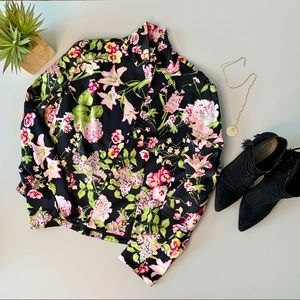 Carlisle Collection Black Floral Silk Jacket